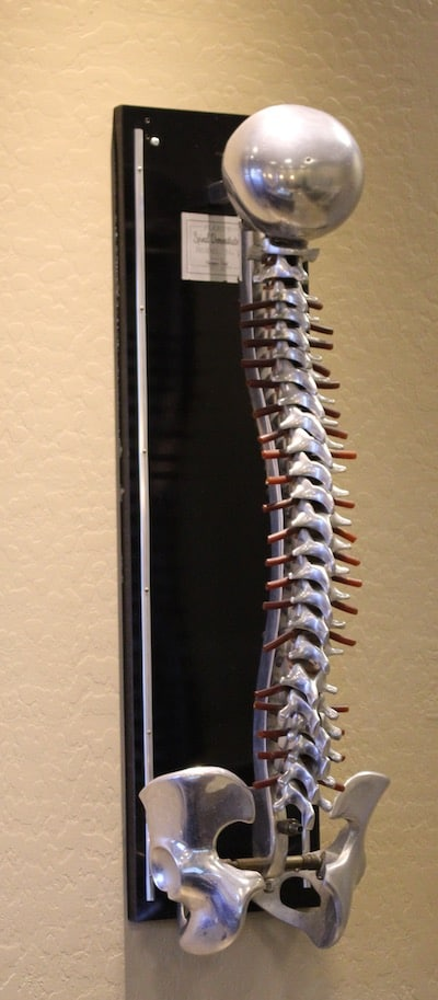 metal spine on wood frame